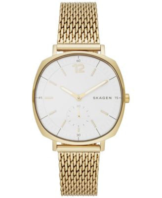 Skagen Women's Chronograph Rungsted Gold-Tone Stainless Steel Mesh Bracelet Watch 34x39mm SKW2426