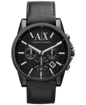 A|X Armani Exchange Watch, Men's Black Leather Strap 45mm AX2098