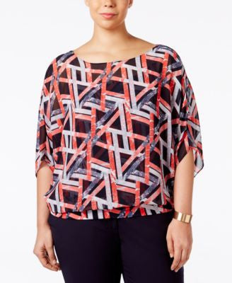 Alfani Plus Size Chiffon Blouson Top, Only at Vogily