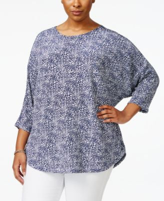 Alfani Plus Size Printed Dolman-Sleeve Top, Only at Vogily