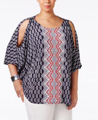Alfani Plus Size Cold-Shoulder Poncho Top, Only at Vogily