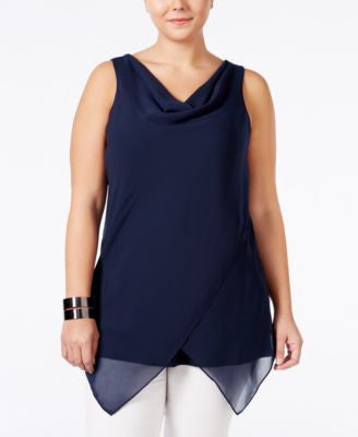 Alfani Plus Size Chiffon Cowlneck Top, Only at Vogily