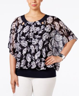 Alfani Plus Size Butterfly-Sleeve Blouson Top, Only at Vogily