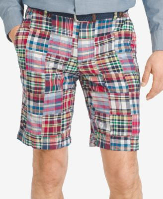 IZOD Men's Patchwork 9.5 Flat-Front Shorts""