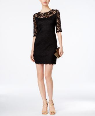 Connected Petite Illusion Lace Sheath Dress