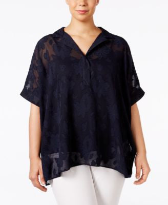 Alfani Plus Size Floral-Jacquard Blouse, Only at Vogily