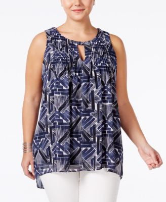 Alfani Plus Size Printed Keyhole Top, Only at Vogily