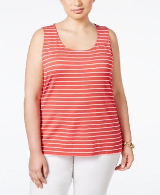 Charter Club Plus Size Striped Tank Top, Only at Vogily