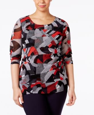 Alfani Plus Size Printed Tiered-Mesh Top, Only at Vogily