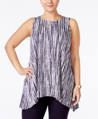 Alfani Plus Size Textured-Knit Arched-Hem Tunic, Only at Vogily