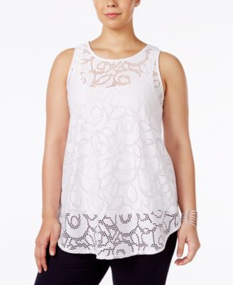 Alfani Plus Size Lace Swing Top, Only at Vogily