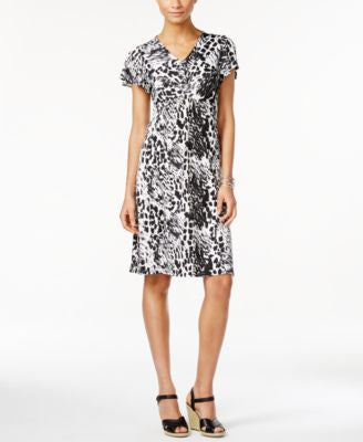 NY Collection Petite Printed Twist-Front Dress