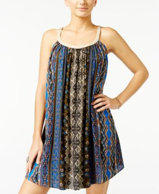 American Rag Braided-Trim Printed Trapeze Dress, Only at Vogily