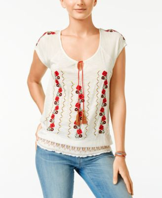 American Rag Embroidered Peasant Top, Only at Vogily