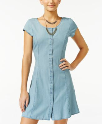 American Rag Chambray Button-Front Fit & Flare Dress, Only at Vogily
