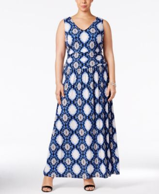 INC International Concepts Plus Size Snakeskin-Print Maxi Dress, Only at Vogily