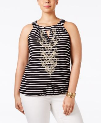INC International Concepts Plus Size Soutache-Trim Striped Halter Top, Only at Vogily
