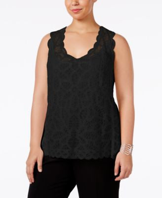 INC International Concepts Plus Size Sleeveless Lace Top, Only at Vogily