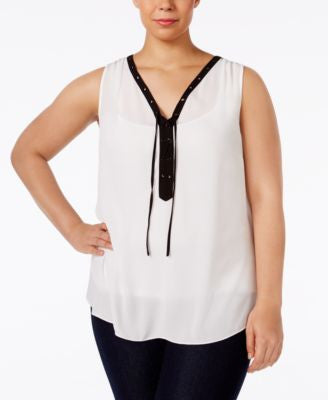 INC International Concepts Plus Size Embellished Lace-Up Shell, Only at Vogily