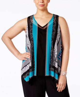 INC International Concepts Plus Size Sleeveless Handkerchief-Hem Top, Only at Vogily