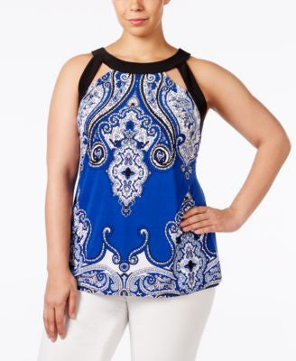 INC International Concepts Plus Size Cutout Halter Top, Only at Vogily