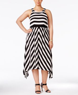 INC International Concepts Plus Size Striped Halter Dress, Only at Vogily