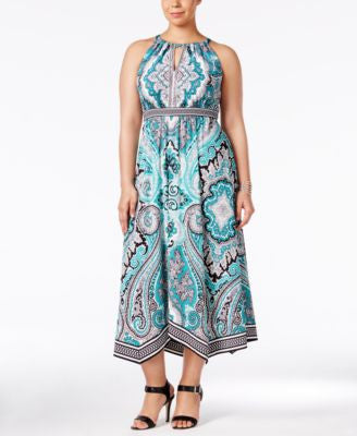 INC International Concepts Plus Size Printed Halter Dress, Only at Vogily