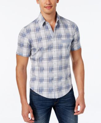 Hugo Boss Green Men's Bicron Plaid Short-Sleeve Shirt