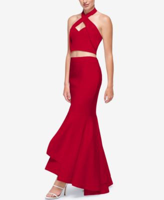 Fame and Partners Cross-Over Two-Piece Halter Dress