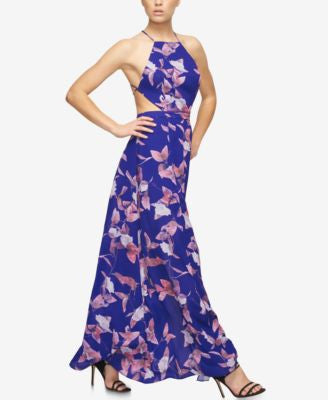 Fame and Partners Printed Halter Dress With Slit Skirt