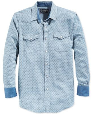 American Rag Men's Snap-Front Geometric-Print Long-Sleeve Shirt, Only at Vogily