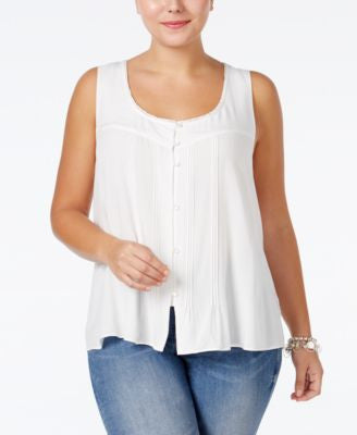 Jessica Simpson Plus Size Sleeveless Pintucked Blouse