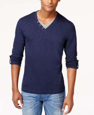 INC International Concepts Men's Sailor Long-Sleeve Double V-Neck T-Shirt, Only at Vogily
