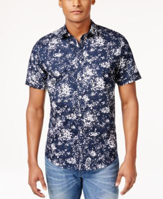 INC International Concepts Men's Abstract-Print Poplin Short-Sleeve Shirt, Only at Vogily