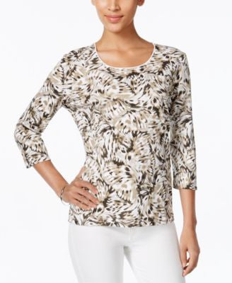 Karen Scott Printed Three-Quarter-Sleeve Tee, Only at Vogily