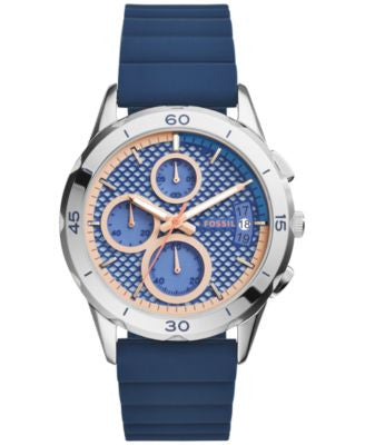 Fossil Women's Chronograph Modern Pursuit Blue Silicone Strap Watch 39mm ES3982