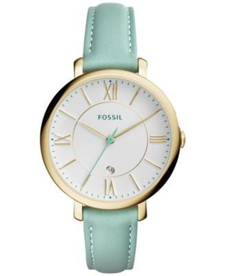 Fossil Women's Jacqueline Green Leather Strap Watch 36mm ES3987