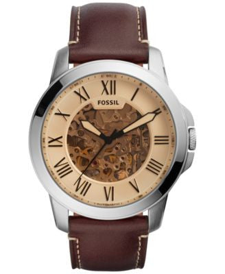 Fossil Men's Automatic Grant Brown Leather Strap Watch 44mm ME3122
