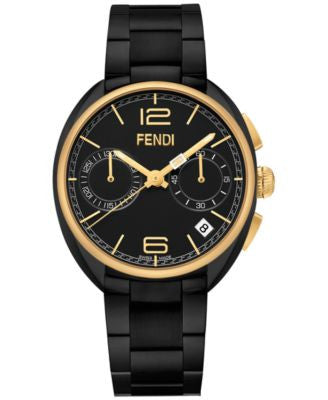 Fendi Timepieces Unisex Chronograph Swiss Momento Black Stainless Steel Bracelet Watch 40mm F2191110
