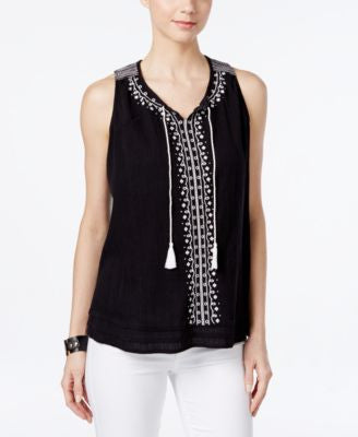 Style & Co. Sleeveless Embroidered Top, Only at Vogily