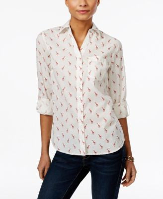 Style & Co. Petite Giraffe-Print Shirt, Only at Vogily