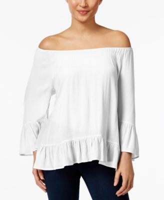 Style & Co. Off-The-Shoulder Flounce-Hem Top, Only at Vogily