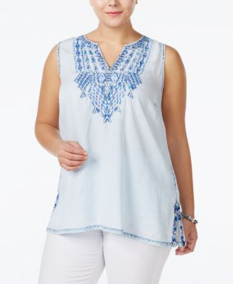 Lucky Brand Plus Size Embroidered Chambray Top