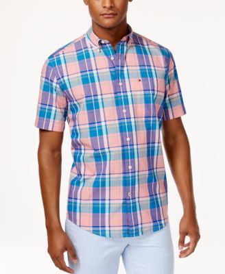 Tommy Hilfiger Men's Crew Lightweight Yarn-Dyed Plaid Short-Sleeve Shirt