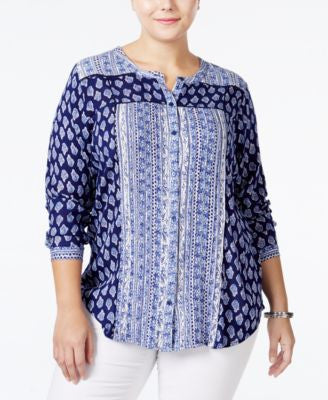 Lucky Brand Plus Size Mixed-Print Shirt