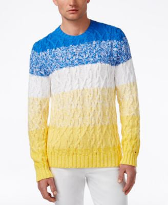Tommy Hilfiger Men's Aaron Ombré Stripe Cable-Knit Sweater