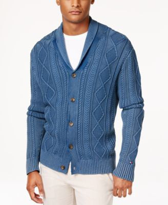 Tommy Hilfiger Men's Nathaniel Cable-Knit Shawl-Collar Fisherman Cardigan