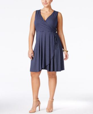Soprano Plus Size Striped Faux-Wrap Dress