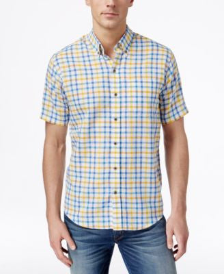 Cutter & Buck Men's Big & Tall Abalone Check Short-Sleeve Shirt