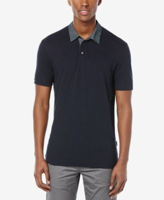 Perry Ellis Men's Lightweight Contrast-Collar Polo